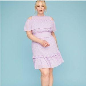 NWOT LANE BRYANT Lavender Eyelet Lace Ruffle Dress